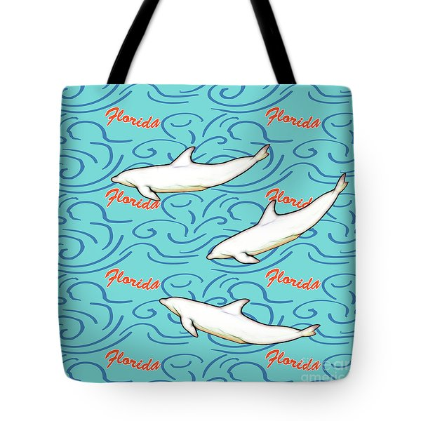 Florida Dolphin Print Tote Bag by Methune Hively