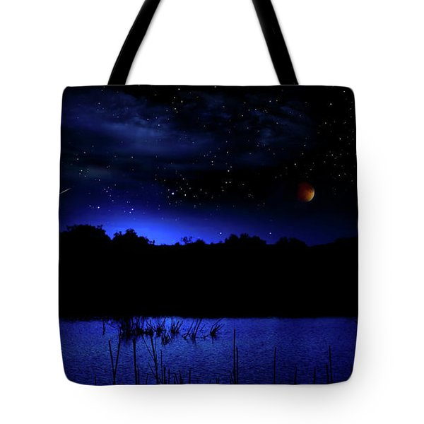 Florida Everglades Lunar Eclipse Tote Bag by Mark Andrew Thomas