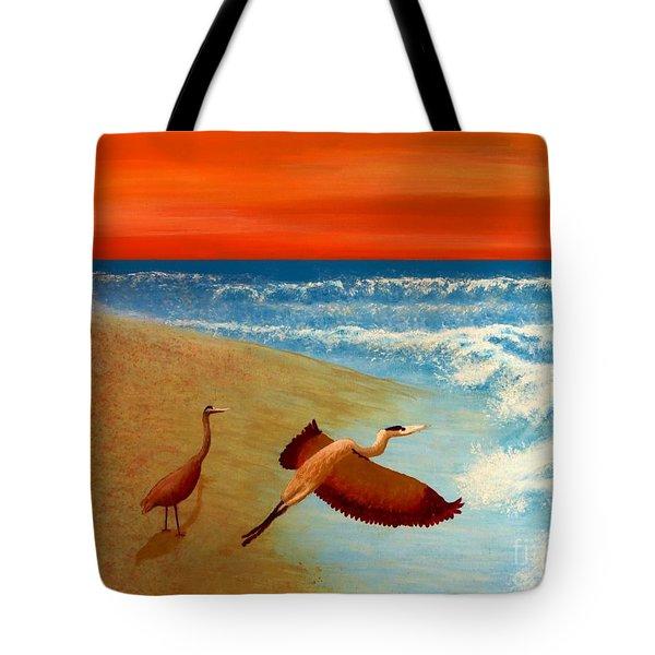 Florida Heron At Sunrise Tote Bag by Tim Townsend