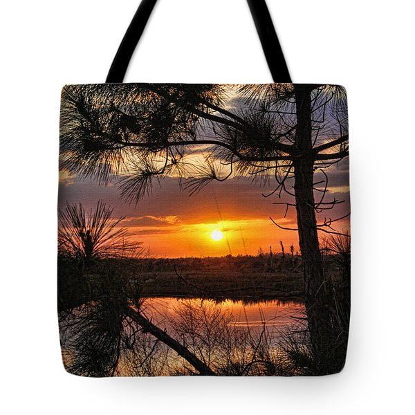 Florida Pine Sunset Tote Bag by HH Photography of Florida