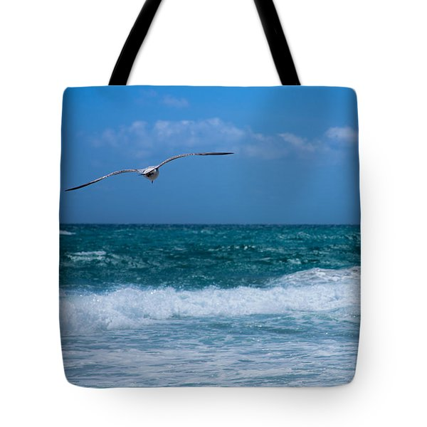 Tote Bag featuring the photograph Florida Seagull In Flight by Jason Moynihan
