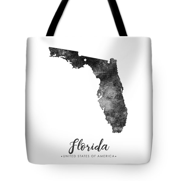 Florida State Map Art - Grunge Silhouette Tote Bag