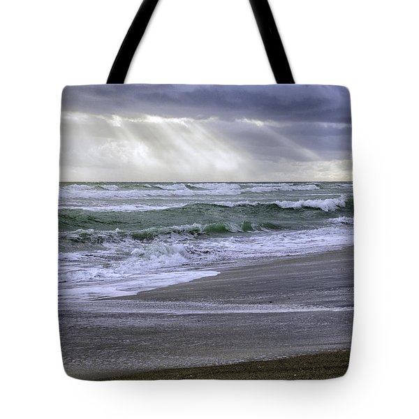 Florida Treasure Coast Beach Storm Waves Tote Bag
