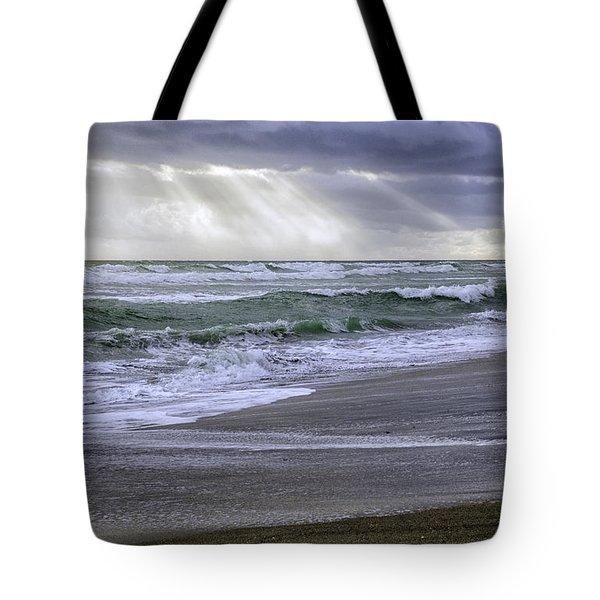 Florida Treasure Coast Beach Storm Waves Tote Bag