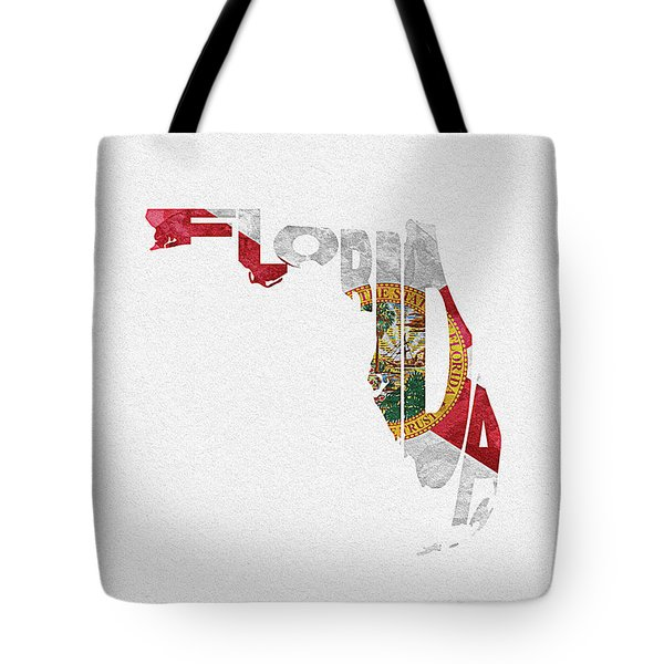 Florida Typographic Map Flag Tote Bag
