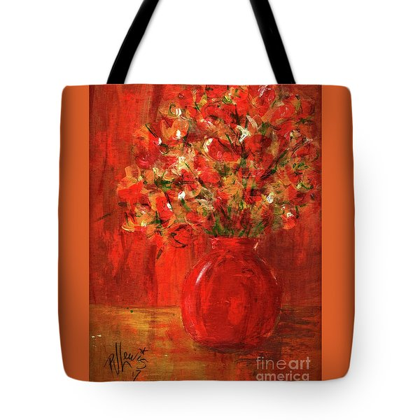 Tote Bag featuring the painting Florists Red by P J Lewis