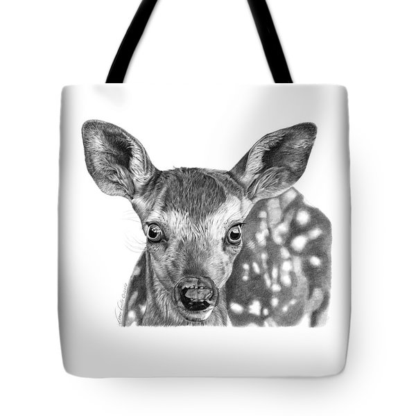 Tote Bag featuring the drawing Florry The Fawn by Abbey Noelle