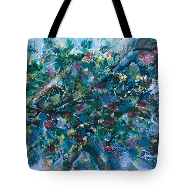 Tote Bag featuring the painting Flow Away by Laila Awad Jamaleldin