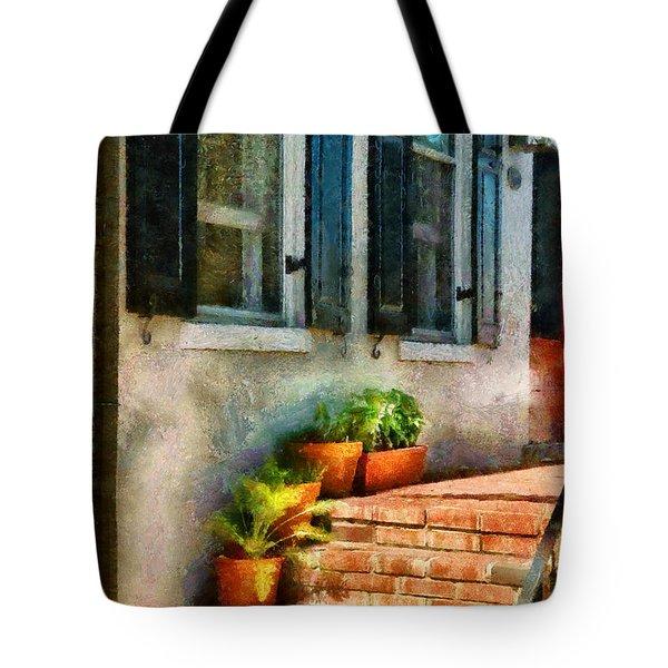 Flower - Plants - The Stoop  Tote Bag by Mike Savad
