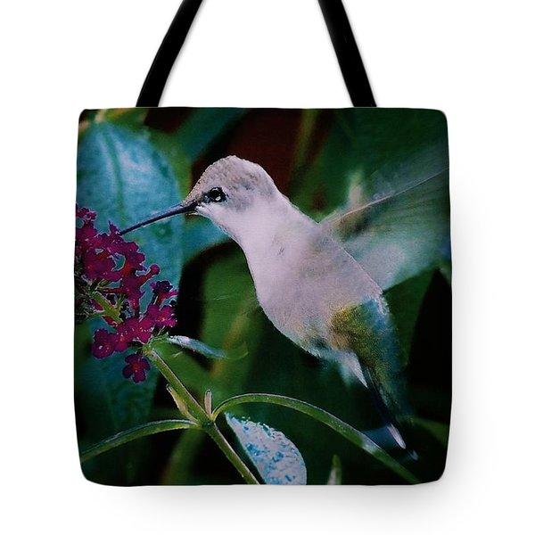 Flower And Hummingbird Tote Bag