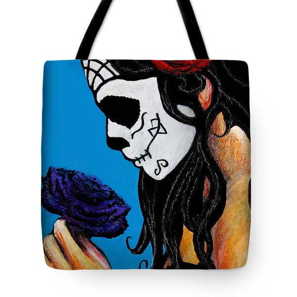 Flower And Skull Tote Bag