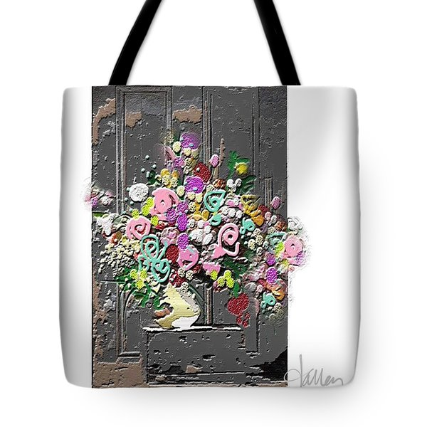 Tote Bag featuring the mixed media Flower Arrangement by Larry Talley