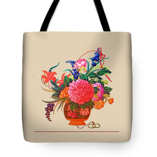 Tote Bag featuring the digital art Flower Basket by Asok Mukhopadhyay