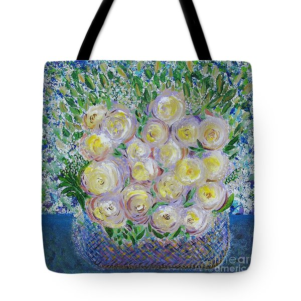 Tote Bag featuring the painting Flower Basket by Corinne Carroll