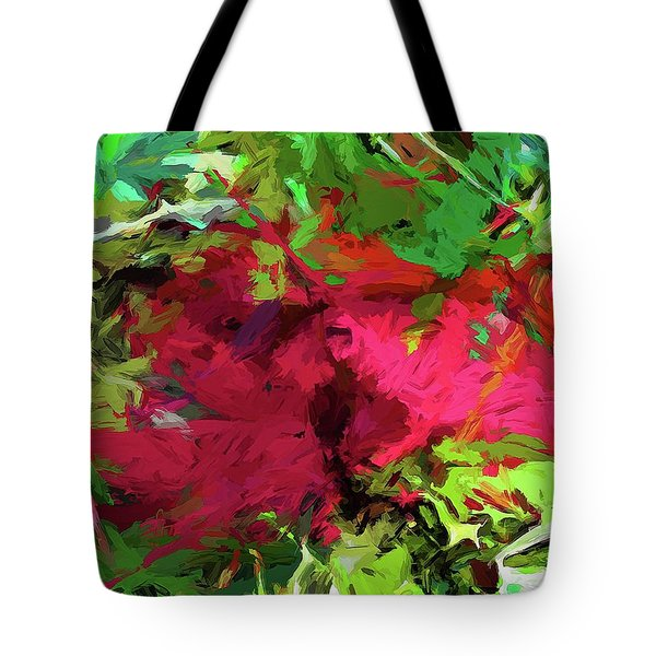 Flower Christmas Red Green Pink Tote Bag
