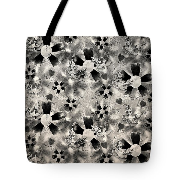 Flower Clown Pattern In Black Tote Bag