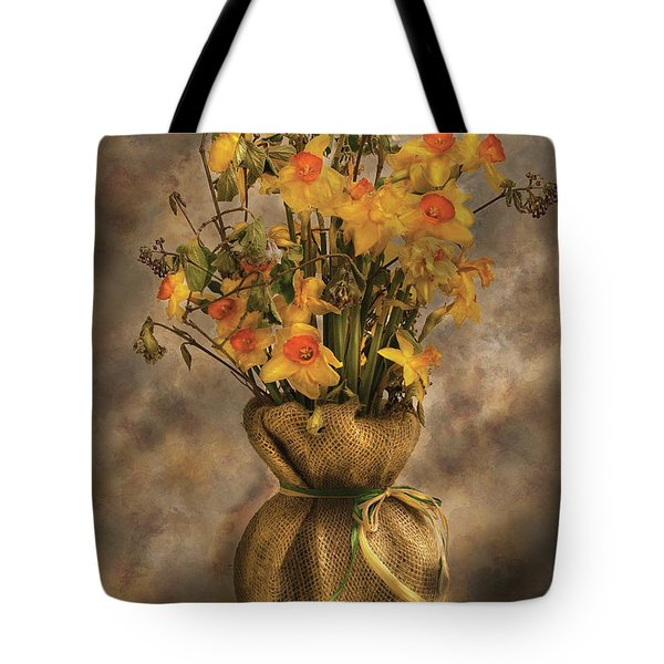 Flower - Daffodils In A Burlap Vase Tote Bag by Mike Savad