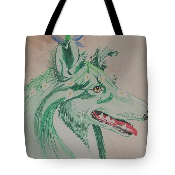 Tote Bag featuring the painting Flower Dog # 11 by Hilda and Jose Garrancho