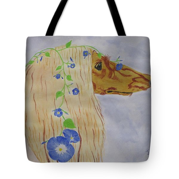 Tote Bag featuring the painting Flower Dog 10 by Hilda and Jose Garrancho