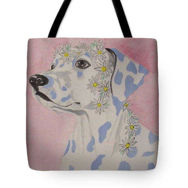 Tote Bag featuring the painting Flower Dog 2 by Hilda and Jose Garrancho