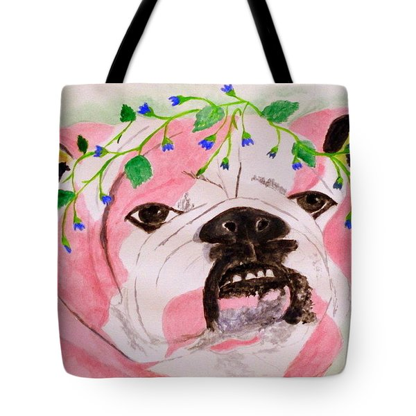 Tote Bag featuring the painting Flower Dog 3 by Hilda and Jose Garrancho