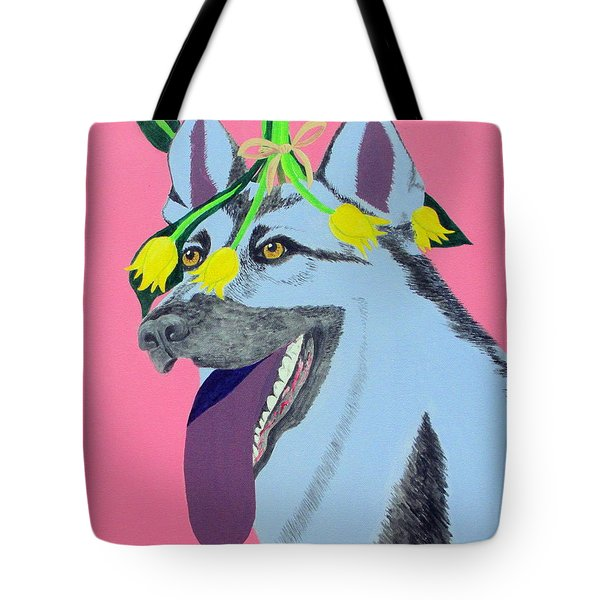 Tote Bag featuring the painting Flower Dog 4 by Hilda and Jose Garrancho