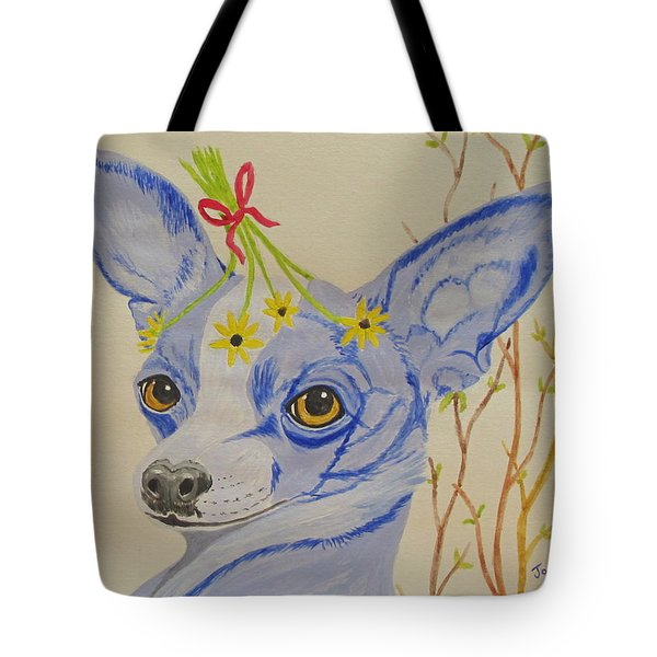 Tote Bag featuring the painting Flower Dog 7 by Hilda and Jose Garrancho