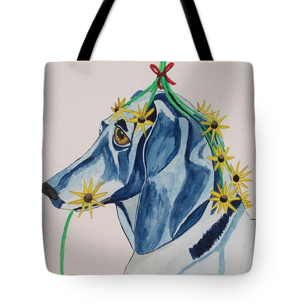 Tote Bag featuring the painting Flower Dog 8 by Hilda and Jose Garrancho