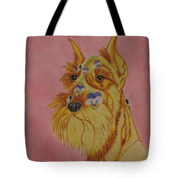 Tote Bag featuring the painting Flower Dog 9 by Hilda and Jose Garrancho