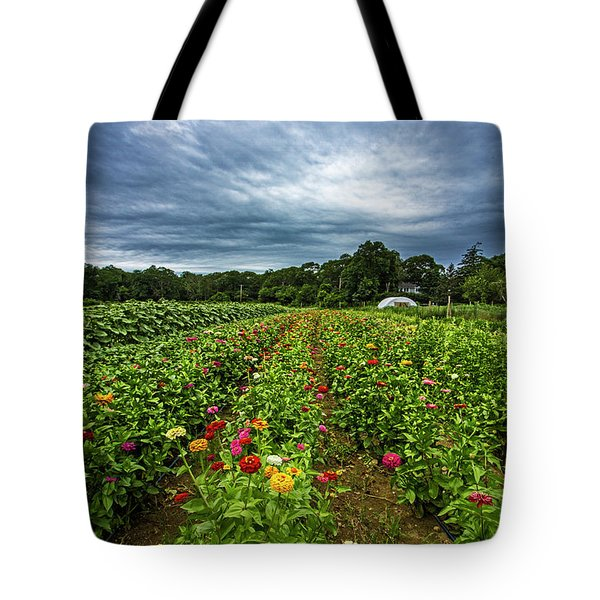 Flower Field At North Sea Farms Tote Bag