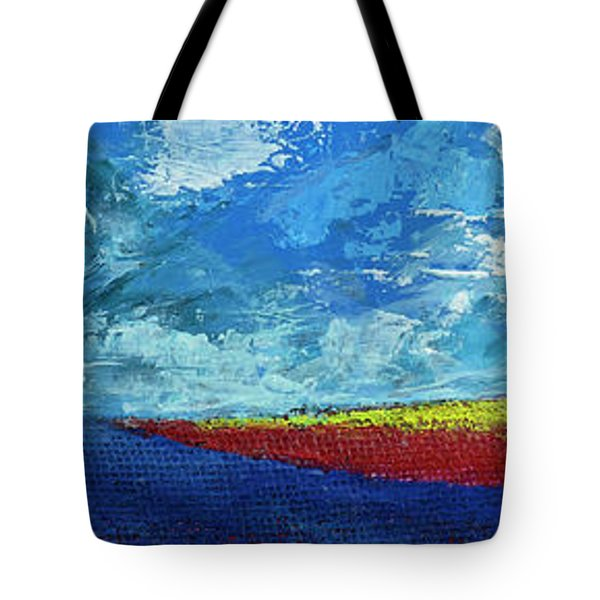 Tote Bag featuring the painting Flower Fields by Walter Fahmy