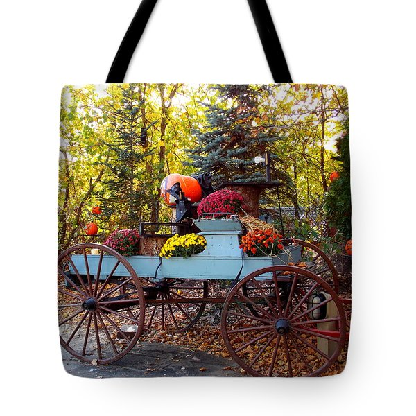 Flower Filled Wagon Tote Bag by Catherine Gagne