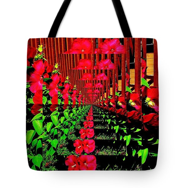 Tote Bag featuring the digital art Flower Garden Abstract by Marsha Heiken