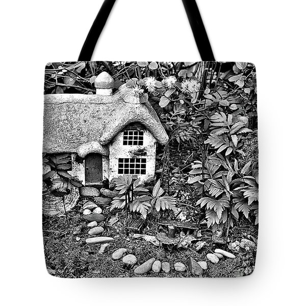 Flower Garden Cottage In Black And White Tote Bag