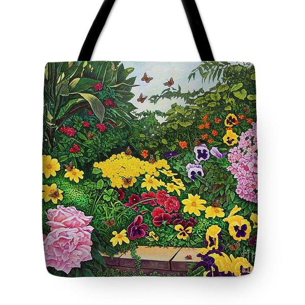 Flower Garden Xii Tote Bag by Michael Frank
