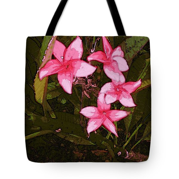 Tote Bag featuring the digital art Flower Gems by Winsome Gunning
