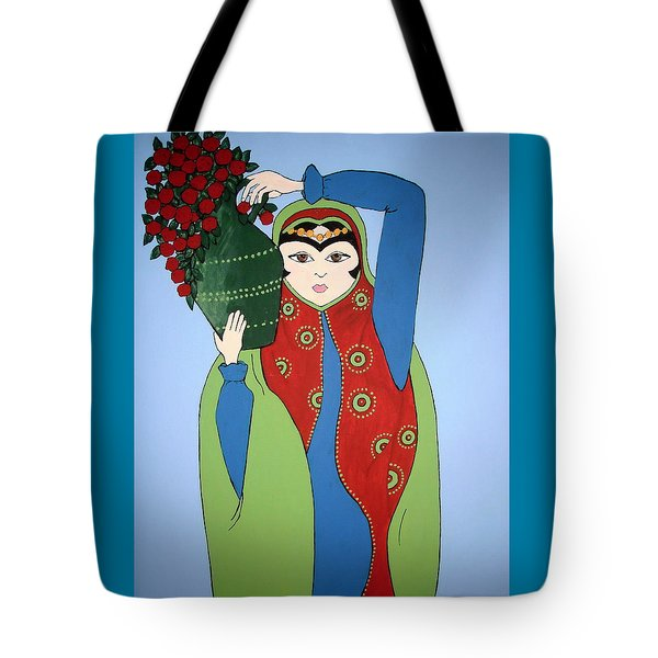 Tote Bag featuring the painting Flower Girl by Stephanie Moore