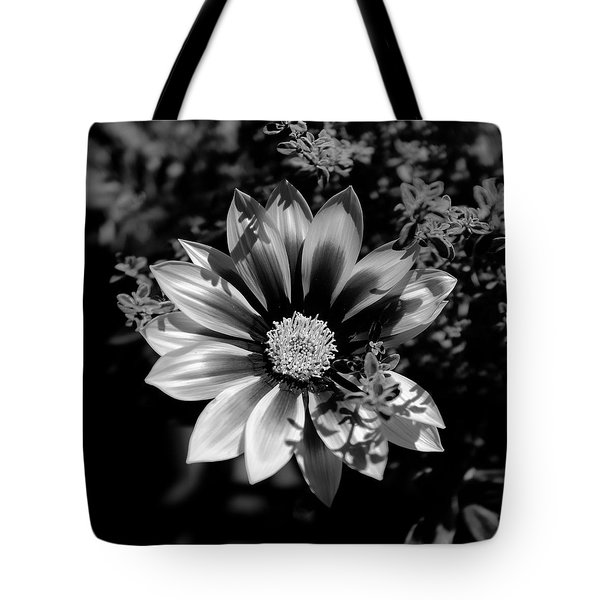 Flower Glow Black And White Tote Bag by Ron White
