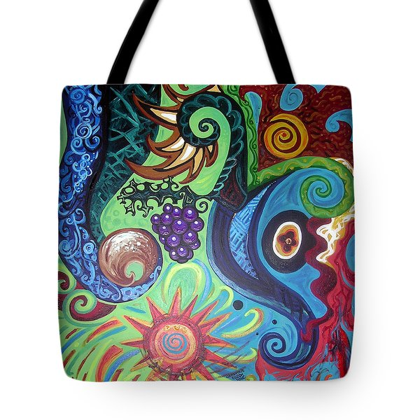 Flower Goyle With Grapes Tote Bag by Genevieve Esson