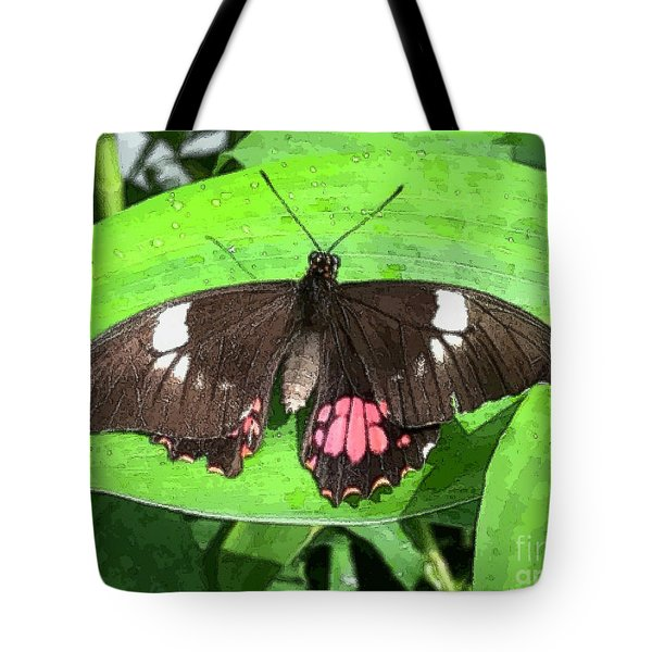 Flower Imprint On Wing Tote Bag