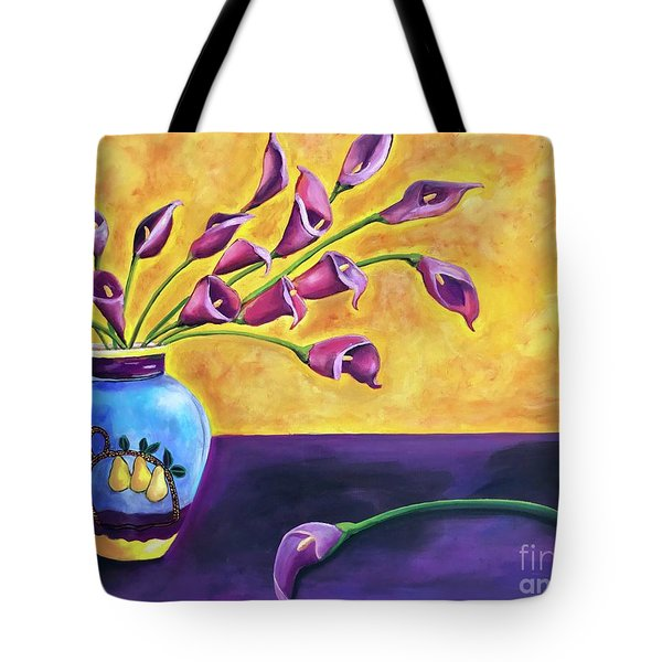 Flowers In Blue Vase Tote Bag