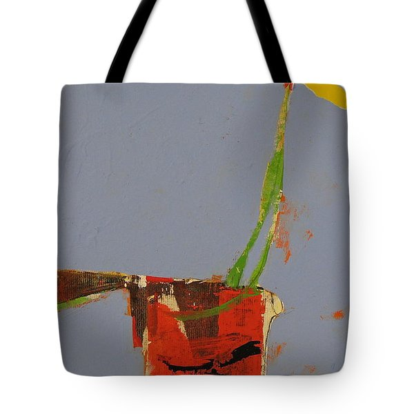 Tote Bag featuring the painting Flower In Pitcher- Abstract Of Course by Cliff Spohn