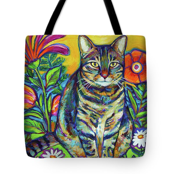 Flower Kitty Tote Bag by Robert Phelps