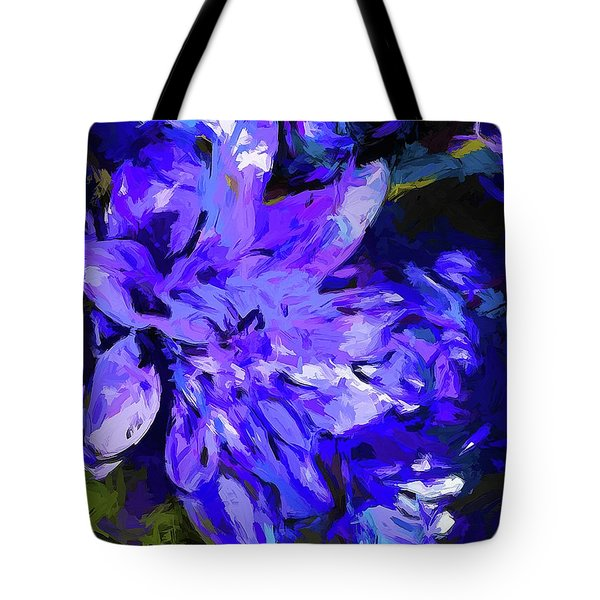 Flower Lavender Lilac Cobalt Blue Tote Bag