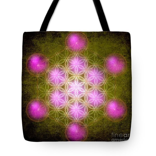 Flower Of Life In Green Tote Bag