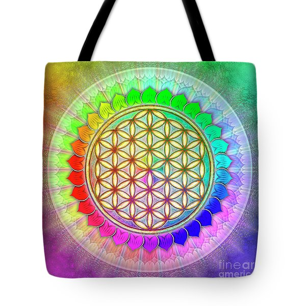 Flower Of Live - Rainbow Lotus 2 Tote Bag