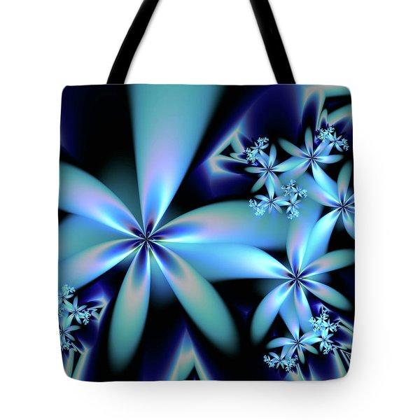 Flower Power Blue Tote Bag