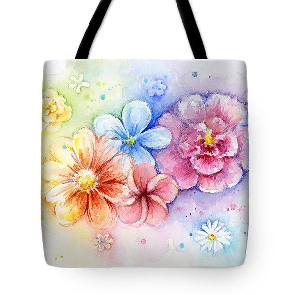 Flower Power Watercolor Tote Bag