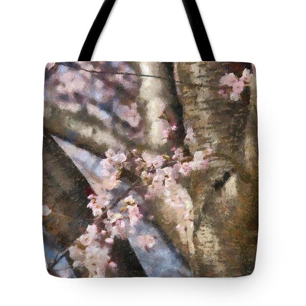 Flower - Sakura - Spring Blossom Tote Bag by Mike Savad