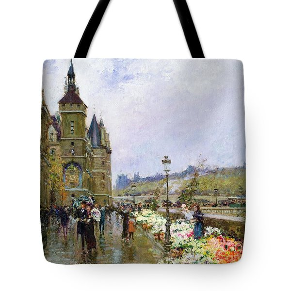 Flower Sellers By The Seine Tote Bag by Georges Stein